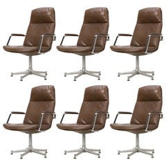 1970s Set of Six FK-86 Arm Chairs by Preben Fabricius & Jørgen Kastholm, Leather