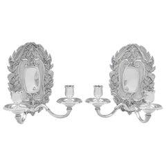 Asprey Rococo Revival Sterling Silver Pair of Wall Sconces, London 1961