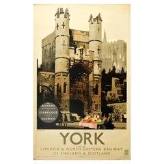 Original Vintage Poster York LNER Railway England & Scotland Monk Bar Gatehouse