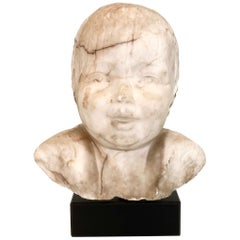 Early 19th Century Biedermeier White Marble Bust of a Boy, Around 1820