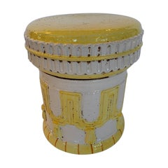 Cheery Yellow and White Italian Garden Seat Accent Table
