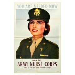 Original Vintage Poster Join The Army Nurse Corps WWII Red Cross Recruitment USA