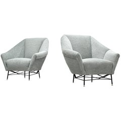 Pair of Italian Lounge Chair in Blue-Grey Fabric