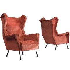 Italian Lounge Chairs in Bourdeaux Velvet