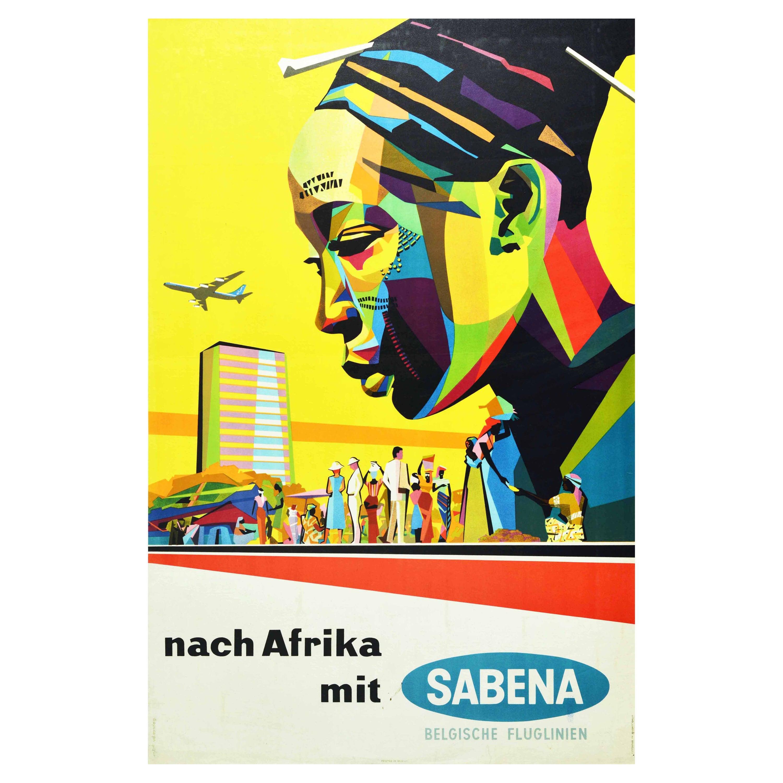 Original Vintage Travel Poster Africa Sabena Airlines Midcentury Modern Design