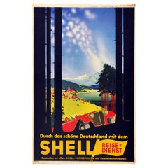 Original Vintage Poster Shell Germany Travel Classic Car Scenic Mountain View