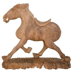 Late 19th Century Wabi Sabi Chinese Carved Wooden Tang Horse, Around 1870