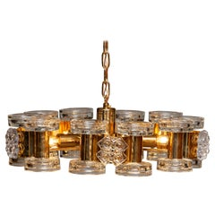 1970s Gilded Chandelier with Ten Candlesticks and Five Screw Bulbs by Orrefors