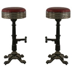 Mid-Century American Red Vinyl and Cast Metal Bar Stools