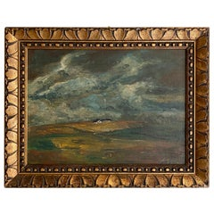 Early 20th Century German Art Deco Landscape Oil Painting Frame, circa 1920