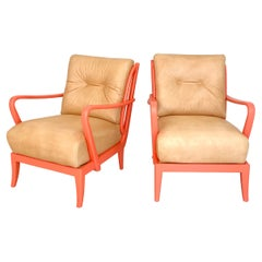 Pair of Italian Mid Century Lounge Chairs in Coral Color and Beige Leather, 1950
