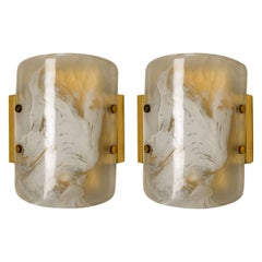 Pair of Glass Brass Wall Sconces by Hillebrand, Austria, 1960