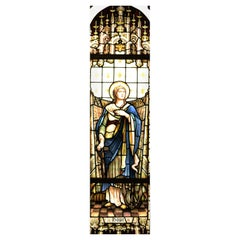 Large Antique Stained Glass Window Depicting Hope