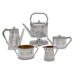 Victorian Sterling Silver 'Can Shape' 5 Piece Tea & Coffee Set, Elkington 1873