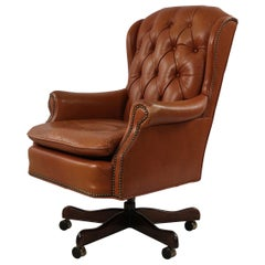 Mid-Century American Brown Tufted Leather Swivel Office / Armchair