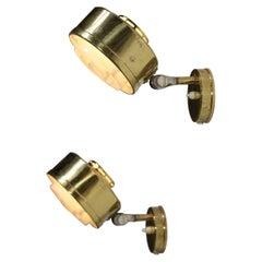 Pair of Scandinavian ASEA 60's Round Brass Sconces Swedish D068