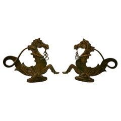 Pair Japanese Hand Cast Bronze Dragon Sculptures