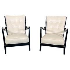 Pair of Gio Ponti Walnut Ebonized Chairs Model No 516 for Cassina, 1950s