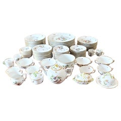 Large Herend Porcelain Green Rothschild Bird Pattern Dinner Service with Extras