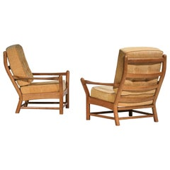Pair Solid Oak Armchairs Attributes of Guillerme and Chambron F174