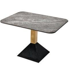 Italian Side Table in Metal and Rectangular Granite Top