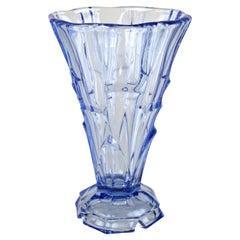 Art Deco Blue Glass Vase, Austria, circa 1920
