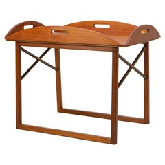Danish Tray Table by Svend Langkilde for Illums Bolighus Teak and Brass, 1960s