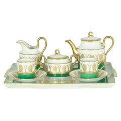 White, Green & Gold Ceramic '60s Coffee Service Attr. to Gio Ponti for Ginori