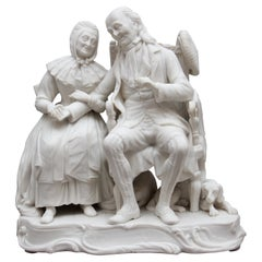 19th Century Parian Figure Group of a Dickensian Couple