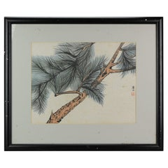Lovely 19th/Early 20th Century Landscape Painting China Artist Painted Pine Tree