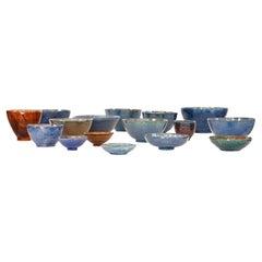 Mid-Century Set of Various Pottery Bowls 1970s, Studio Pottery