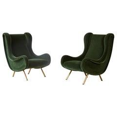 Authentic Marco Zanuso Senior Chairs, Green Velvet, Arflex, Italy, 1960s