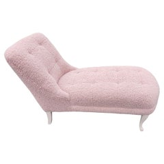 French Chaise Lounge Upholstered in Blush Pink Boucle Fabric Draper Style