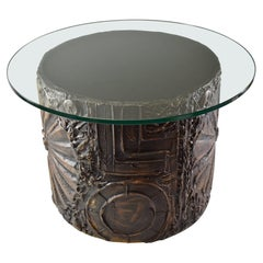 Sculpted Brutalist Circular Drum Side Table Adrian Pearsall