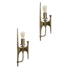 Pair of 60's Gilded Bronze Wall Lights Design in Style of Felix Agostini D215