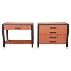 Harvey Probber Teak and Mahogany Nightstands, Newly Refinished