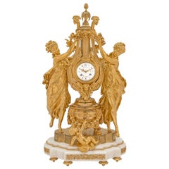 French 19th Century Louis XVI Style Marble and Finely Chased Ormolu Clock