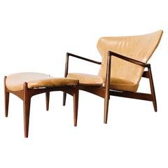 Kofod Larsen Danish Modern Fan Back Chair and Ottoman for Selig
