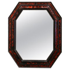 Mid-Century French Carved Faux Tortoiseshell Octagonal Wall Mirror