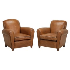 French Leather Club Chairs Restored with Horsehair and Still in Original Leather
