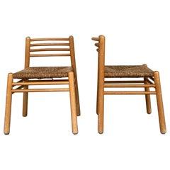Pair of Pine and Rush Mid-Century Dutch Chairs