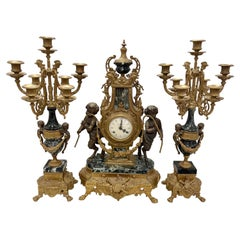 Antiques Louis XVI French Bronze and Marble Garniture Set Clock & Candelabras