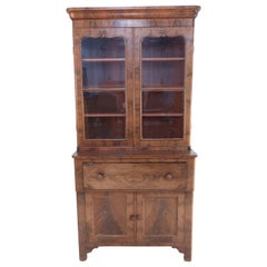 American Victorian Walnut Secretary Glass Front Cabinet