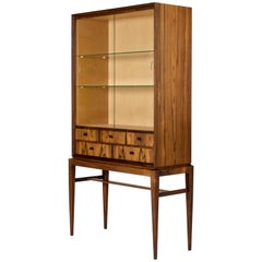 Midcentury Rosewood and Glass Vitrine Cabinet by Svante Skogh for Seffle