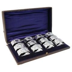 Edwardian Antique Set of Sterling Silver Napkin Rings Jackson & Fullerton, 1902