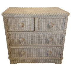 Vintage Palm Beach Wicker Chest of 4 Drawers Dresser Shell Pulls