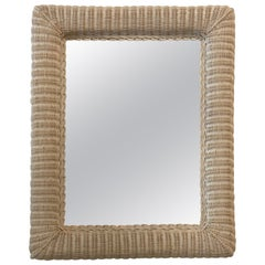 Vintage Palm Beach Braided Wicker Wall Mirror