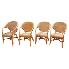 Set of Four Bamboo Arm Chairs