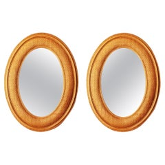 Pair Extra Large  Mirrors Wiker or Rattan,Oval Shaped,70s