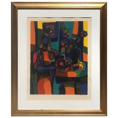 Colorful Cubist Art Abstract Linocut Lithography Artist Signed Modern, 1960s